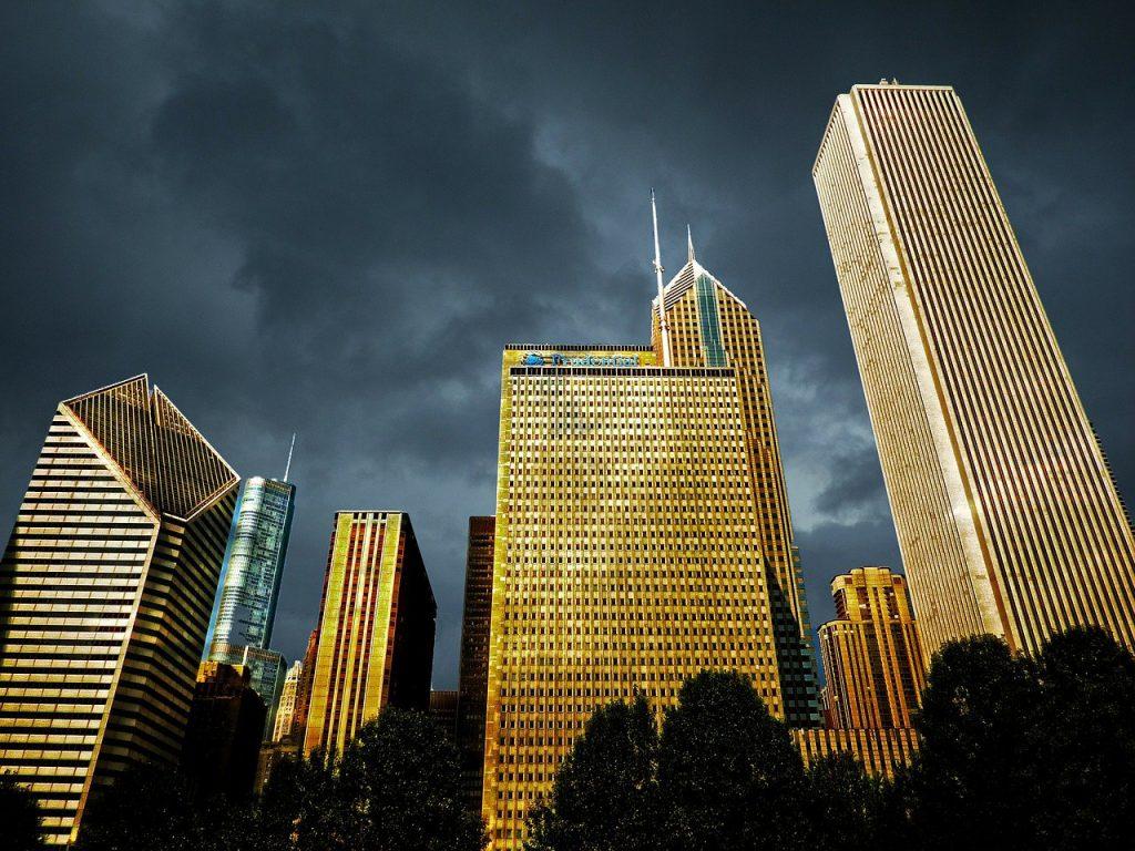 chicago, downtown, dawn